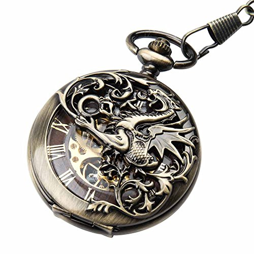 Retro Pocket Watch for Men Women Double hunter Steampunk Skeleton Mechanical With Chain + Gift Box