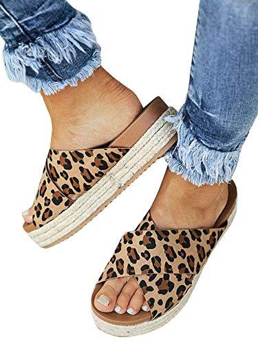 LAICIGO Women's Open Toe Slip-On Crisscross Strappy Sequin Espadrille Flatform Slide Sandal ()