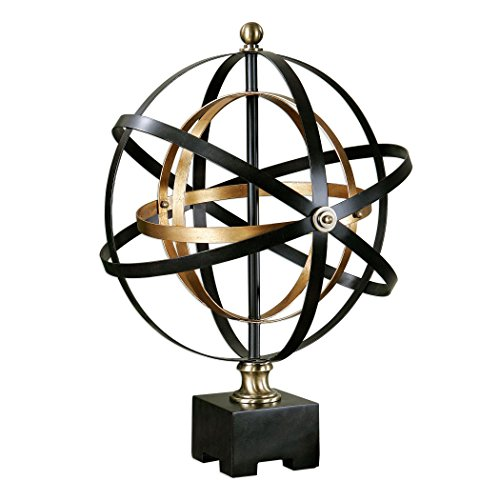 Uttermost 20167 Rondure - 24'' Orb Sculpture, Dark Oil Rubbed Bronze/French Gold Leaf Finish by Uttermost