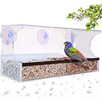 Large Clear Acrylic Window Mounted Bird Feeder with 4 Strong Suction Cups. Attract Outdoor Garden Birds like Cardinals and Blue Jays. Simple to Install, Easy to Fill.