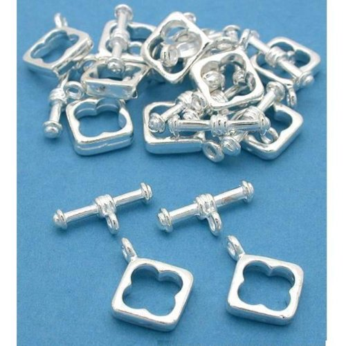 Square Toggle Clasps Silver Plated 13.5mm Approx 12 (Square Toggle Clasps Silver Plated)