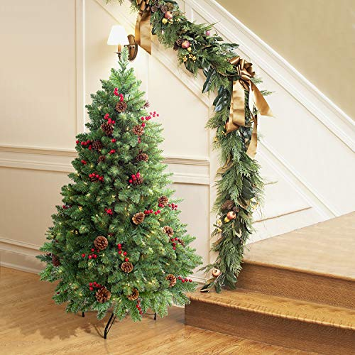 LIFEFAIR 4.5ft Prelit Christmas Tree, Decorated with 300 Clear Lights and Realistic 516 Thicken Tips, Hinged UL Certified