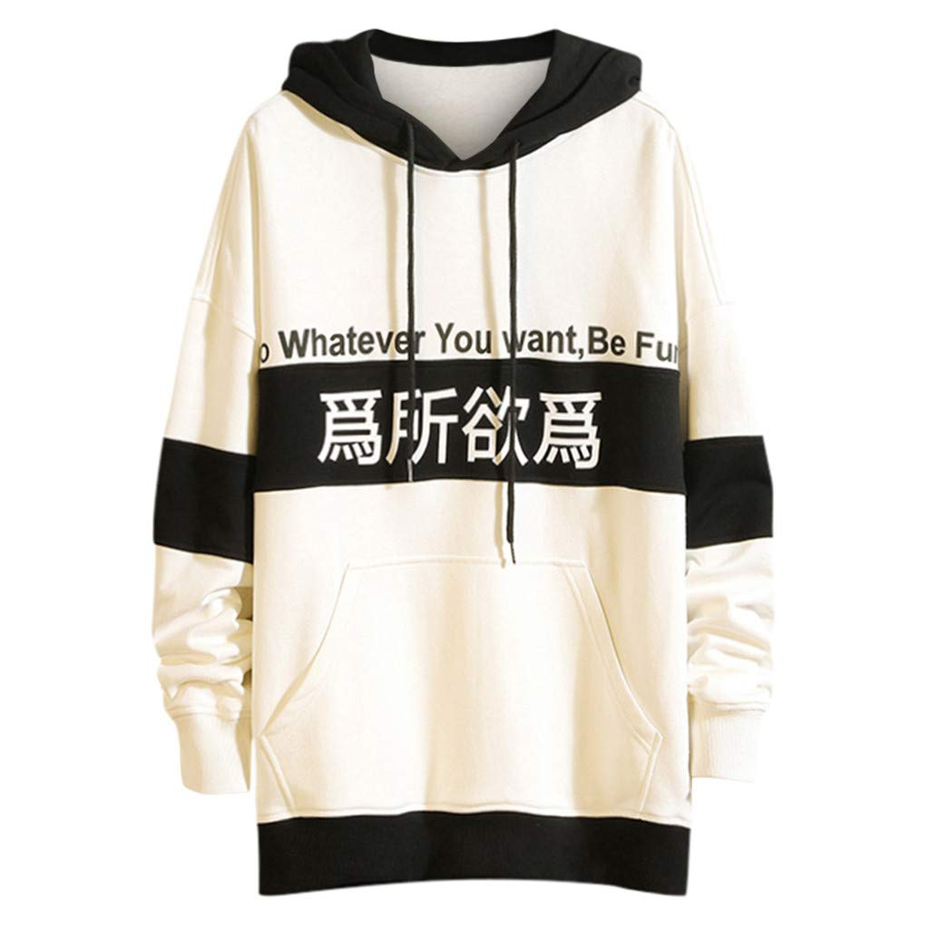 Sinzelimin Men's Sweatshirt Hipster Casual Long Sleeve Drawstring Hooded Patchwork Pullover Hoodies White