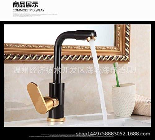 ZJN-JN 蛇口 バスルームのシンクは、スロット付き浴室の洗面台のシンクホットコールドタップミキサー流域の真鍮シンクミキサータップブラックゴールド回転単穴スペースアルミ浴室の洗面台温水と冷水の蛇口をタップ 台付