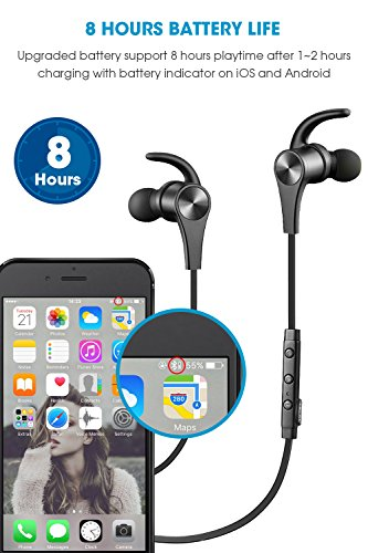 Large Product Image of SoundPEATS Bluetooth Headphones In Ear Wireless Earbuds 4.1 Magnetic Sweatproof Stereo Bluetooth Earphones for Sports With Mic (Upgraded 8 Hours Play Time, Secure Fit, Noise Cancelling) -Black