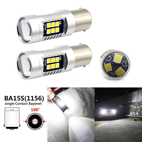 Boodled 1156 BA15S P21W Led Bulb,1260Lumens 12V~24V 6000K~6500K 3030 21-SMD Chipsets Led Bulbs For Reverse Turn Signal Brake lights.Xenon White.2-Pack.