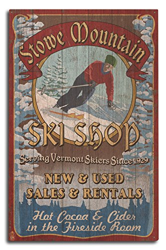 Ski Vermont Shop - Lantern Press Stowe Mountain, Vermont - Ski Shop Vintage Sign (10x15 Wood Wall Sign, Wall Decor Ready to Hang)