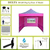 10'x10′ Pop up 4 Wall Canopy Party Tent Gazebo Ez Pink Zebra – F Model Upgraded Frame By DELTA Canopies