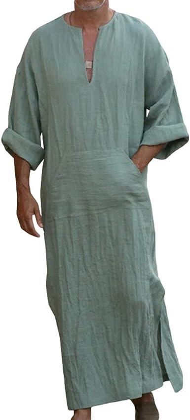 Hombre Musulmana Ropa Abaya Dubai Maxi Largo Vestido Arabe Jalabiya Islámico Media Manga Camisa con Bolsillos: Amazon.es: Ropa y accesorios