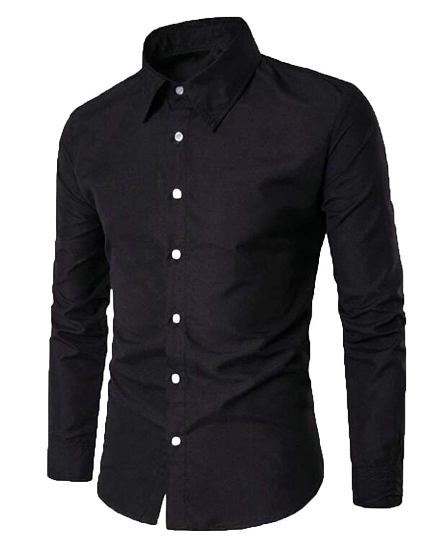 Nanquan Men Slim Fit Button Down Lapel Solid Long Sleeve Casual Dress Shirt