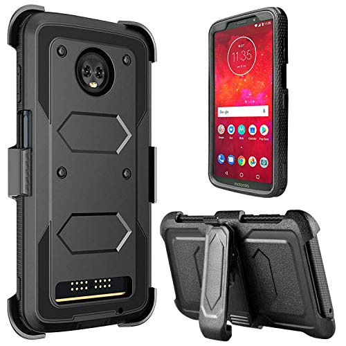 Moto Z3 Case, Moto Z3 Play Case, lovpec [Holster Series] Full Body Heavy Duty Rugged Shockproof Protective Case Cover with Kickstand and Belt Swivel Clip for Motorola Moto Z3 Play (Black)