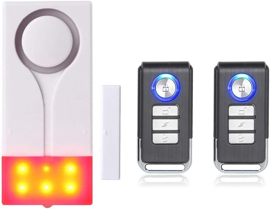 Mengshen Alarma de Puertas y Ventanas - Alarma Inalámbrica con 105db Sonido Fuerte y Luz Brillante, Fácil De Instalar (Incluye 1 Alarma y 2 Control Remoto)