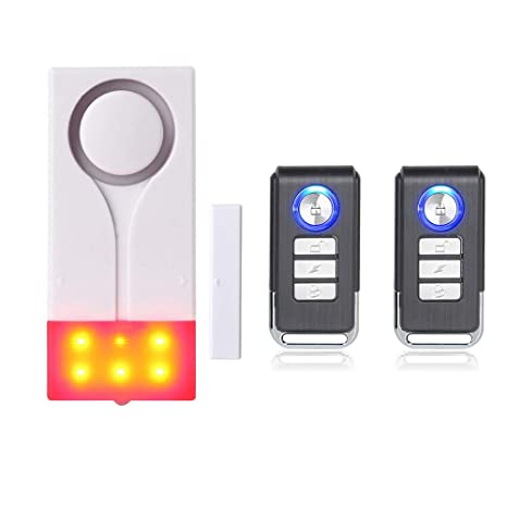 Mengshen Alarma de Puertas y Ventanas - Alarma Inalámbrica con 105db Sonido Fuerte y Luz Brillante, Fácil De Instalar (Incluye 1 Alarma y 2 Control ...