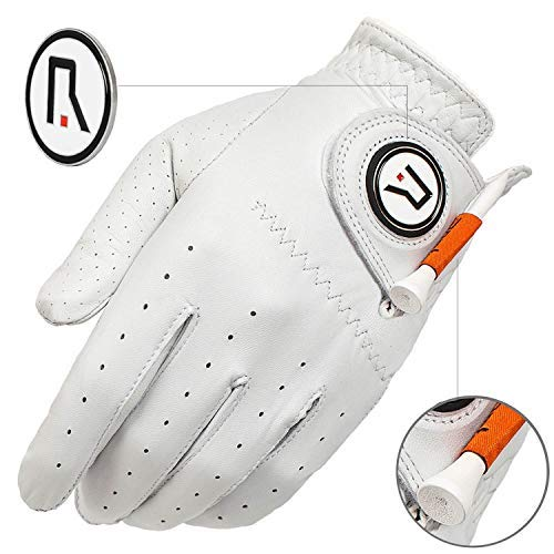 POMTE- 100% Grade A Cabretta Leather Golf Glove with Magnet Pin and Tee Holder. Soft - Comfortable - Durable - Pure (M, Worn on Left Hand) - Leather Golf Ball Holder