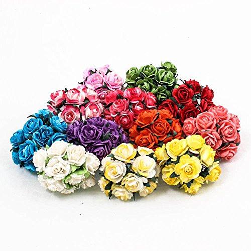 120 PCS Rose 25mm Mulberry Paper Flower DIY Handmade Wedding Scrapbook Mix Color