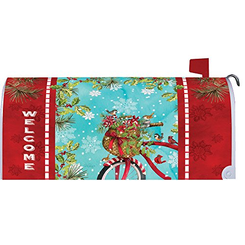 Christmas Bike Mailbox Makover Cover - Vinyl witn Magnetic Strips for Steel Standard Rural Mailbox - Copyright, Licensed and Trademarked by Custom Decor (Christmas Mailbox)