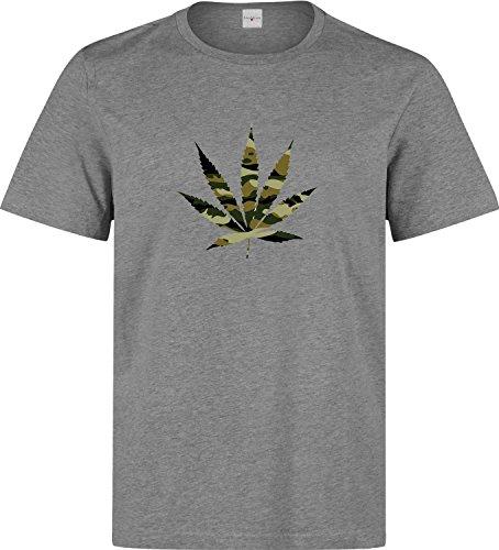 Camouflage cannabis leaf funny dope t shirt herren baumwoll grau