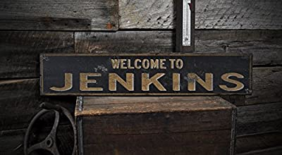 Welcome to JENKINS, KENTUCKY - Rustic Hand-Made Vintage US City Wooden Sign