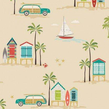 Tela beis oscuro caseta playa colores palmera coche Offshore de Riley Blake: Amazon.es: Hogar