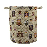 Mziart Large Storage Basket with Handles, Collapsible Nursery Baby Laundry Hamper Storage Bin Organizer, Decorative and Convenient for Kids Bedroom (Colorful Owl)