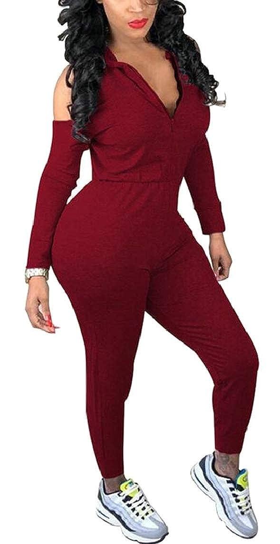 Jmwss QD Womens Cold Shoulder Bodycon Cubwear Hooded Jumpsuit