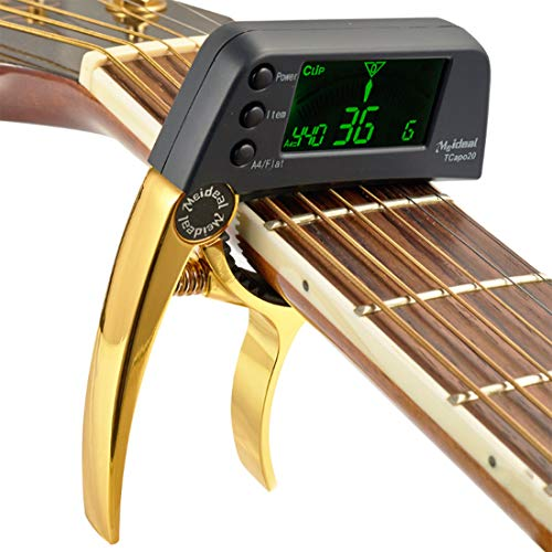 Dreokee-Guitar-Capo-Tuner-for-Bass-Acoustic-Electric-Guitar-Chromatic-Professional-Change-Key-Golden