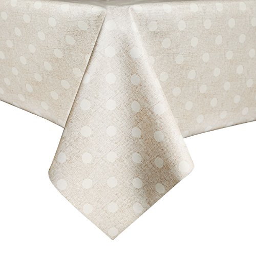 [LEEVAN Heavy Weight Vinyl Rectangle Table Cover Wipe Clean PVC Tablecloth Oil-proof/Waterproof Stain-resistant/Mildew-proof - 54 x 54 Inch (Polka Dot)] (Polka Dot Oilcloth)