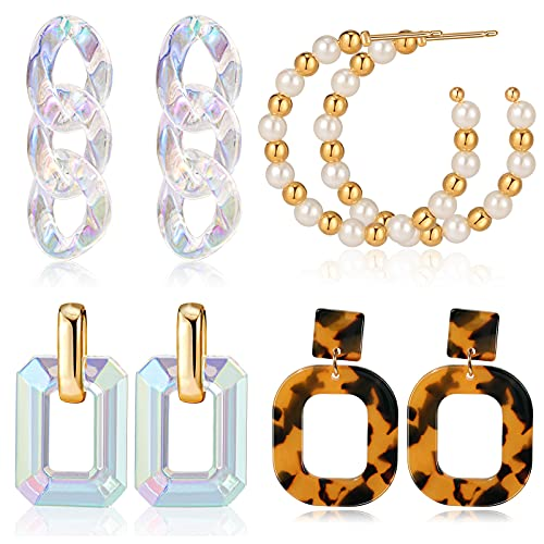 CHANBO 4 Pairs 2021 Fashionable Acrylic Pendant Earrings and Styles for Women Statement Drop Dangle Earrings Jewelry Gift
