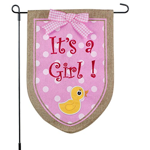 (New Baby Banner Its A Girl Garden Flag, Yard Sign, Car Decoration - Pink Duck Design On Burlap Banner - 12x18 - Home Garden Flag)