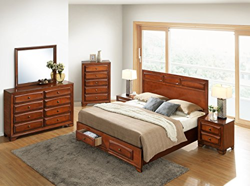 Roundhill Furniture Oakland 139 Antique Oak Finish Wood Bed Room Set, Queen Storage Bed, Dresser, Mirror, 2 Night Stands, Chest - bedroomdesign.us