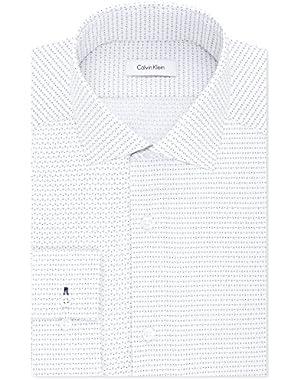 Calvin Klein Men's STEEL Slim-Fit Non-Iron Performance Blue Dotted Diamond Print Dress Shirt- 17.5