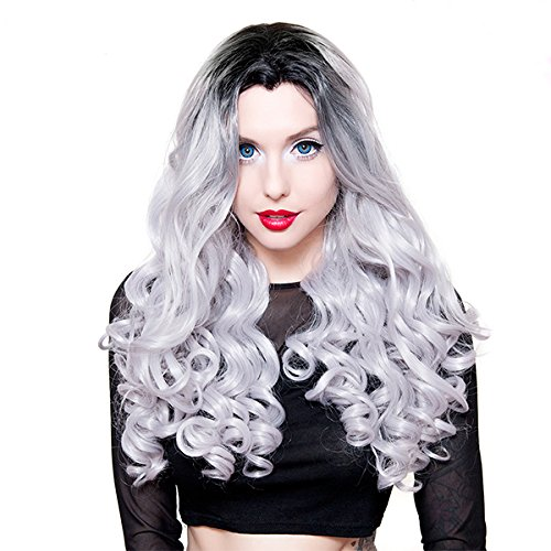 Lace Front Curly Dark Roots - Silver -00702 -