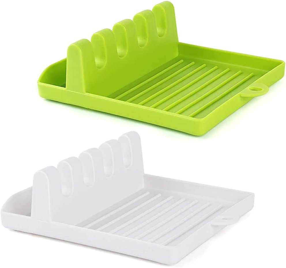 Cool Kitchen Utensil Rest For Ladle Spoon Rest For Kitchen 2 Pack Tongs Silicone Spoon Holder For Stove Top Green /& White Spoon /& More