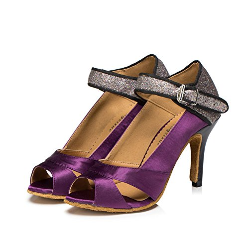 Shoes Soft GUOSHIJITUAN Satin Social Round Dance Women's Salsa Shoes Tango Heels Shoes Bottom Dancing Latin Pink Toe High Dancing qx8wXYr8