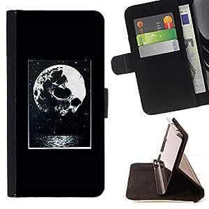 "For HTC One Mini 2 M8 MINI,S-type Noche luna impresiones de Halloween"" - Dibujo PU billetera de cuero Funda Case Caso de la piel de la bolsa protectora"