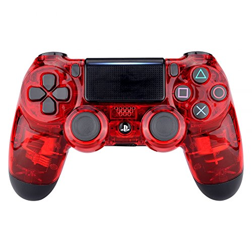 (eXtremeRate Transparent Crystal Clear Red Front Housing Shell Faceplate Cover for Playstation 4 PS4 Slim PS4 Pro Controller (CUH-ZCT2 JDM-040 JDM-050 JDM-055))