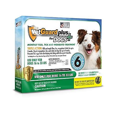 VetGuard Plus Flea & Tick Treatment for Medium Dogs, 16-33 lbs, 6 Month Supply - Advantix Flea Treatment