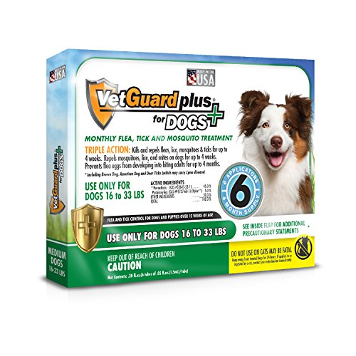VetGuard Plus Flea & Tick Treatment for Medium Dogs, 16-33 lbs, 6 Month - K9 Plus Advantix