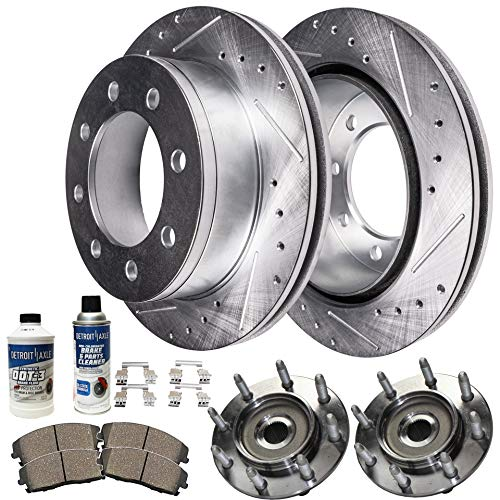 Detroit Axle - Front Wheel Bearing & Hub, Drilled and Slotted Disc Brake Rotors w/Ceramic Pads for 2001-2006 Chevy GMC Silverado Sierra 2500HD/ 3500 DRW - [02-04 Avalanche 2500] - 4WD