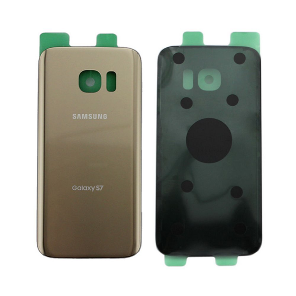 OEM Original Back Glass Cover Battery Door Replacement For Samsung Galaxy S7 G930 Two Logos (Gold) by Cathy-Tech