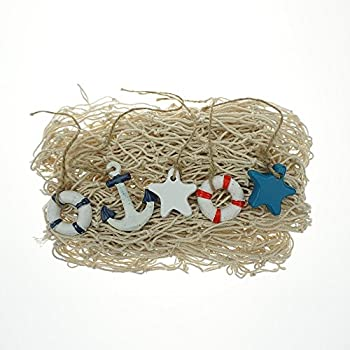 Bilipala Rustic Nautical Decorative Fishing Net Wall Hangings Decor with Stars, Lifebuoy and Anchor Ornaments, Creamy White