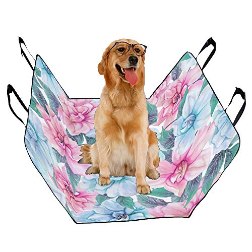JTMOVING Fashion Oxford Pet Car Seat Gardenia Natural Hand Painted Waterproof Nonslip Canine Pet Dog Bed Hammock Convertible for Cars Trucks SUV