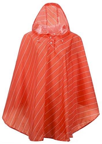(QZUnique Women's Lightweight Outdoor Ripstop Waterproof Packable Rain Jacket Stripes Poncho Raincoat with Hood Red)