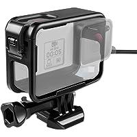 Taisioner para el Marco de GoPro Hero 5 6 7 Black White Silver,Diseño de Apertura Superior Funda Protectora + Tapa de Lente de Silicona, Incluye Puerto de Carga, Negro