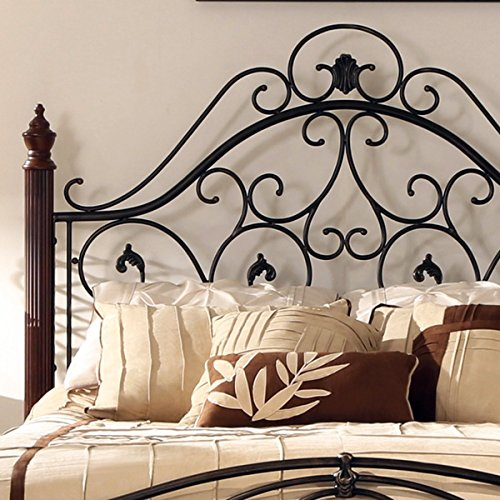Modern Antique Traditional Modern Style Cherry Oak 9pc: Queen Size Antique Style Wood Metal Wrought Iron Look