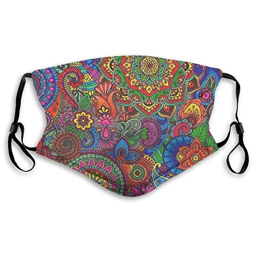 Paisley Pattern Face Dust Mask Replaceable Filter with Comfortable Earloop,Soft & Comfortable,Face Mask for Cycling Camping Travel,Washed Reusable (Non-Medical Masks)(Two Sizes)