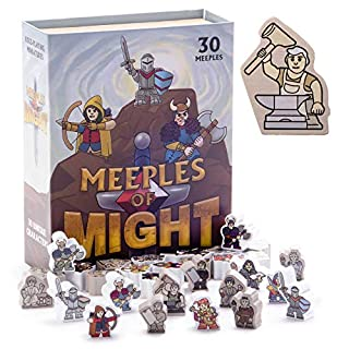 Meeples of Might - 30 Colorful, Heroic 16mm Minis - Wooden Fantasy Meeple Miniature Accessory Pawns for Tabletop Role Playing RPG and Tactical Strategy Board Game Bulk Token Pieces