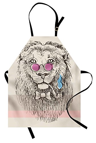 Ambesonne Animal Apron, Magestic Lion Head Hipster Style Glasses Pipes Sketch Print, Unisex Kitchen Bib Apron with Adjustable Neck for Cooking Baking Gardening, Pink Cream