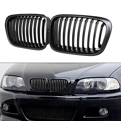 Heart Horse Front Replacement Kidney Grille Grill for BMW E46 320i 323i 325i 328i 330i 4D 4 Door 3 Series Sedan 1998-2001 Matte (Bmw 323i Grille)