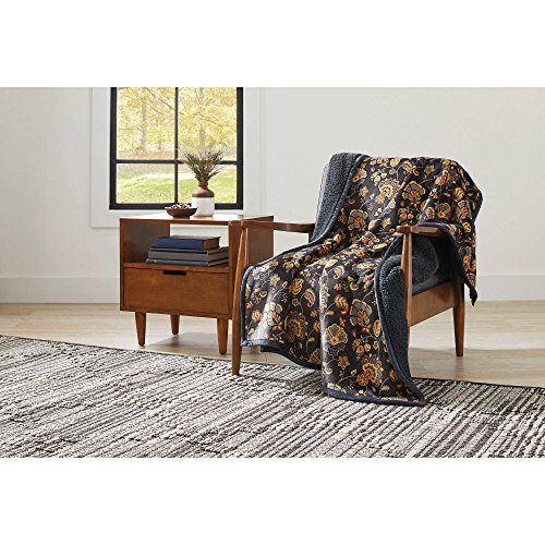 """Better Homes and Gardens Super Soft and Warm Winter Velvet Plush Reversible to Sherpa Throw Blanket, Fun Prints with Solid Cream Back, 50"""" x 60"""" (Jacobean Floral) from Better Homes and Gardens"""
